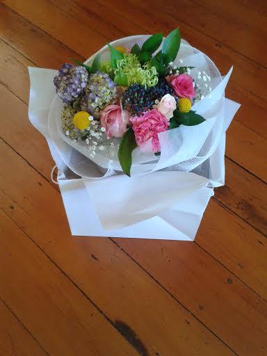birthday bouquet in bag