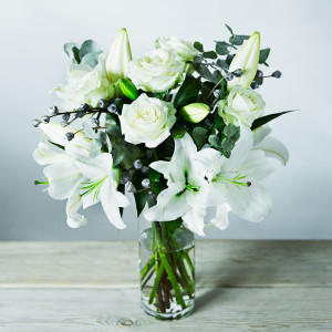 White Christmas lily bouquet